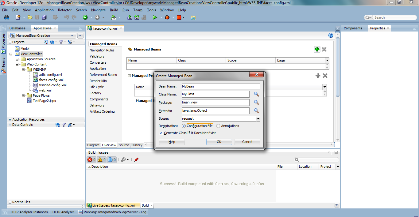Different ways to create a managed bean of jspxjsf oracle adf select the checkbox if we do not have any java class and click ok baditri Gallery