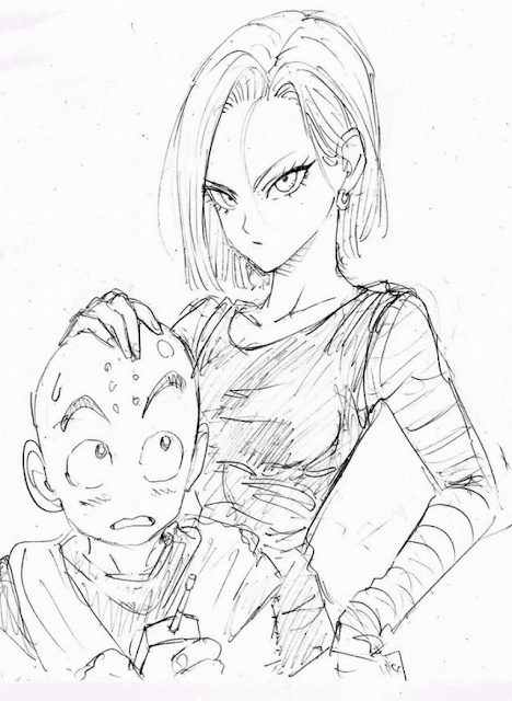 Sketsa Krilin dan Android 18 Dragon Ball