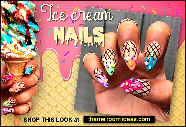 Ice cream nails ~ 3D False nails Ice cream Press on nails ~ Stiletto press on nails ~ Summer nails ~ Drip nails