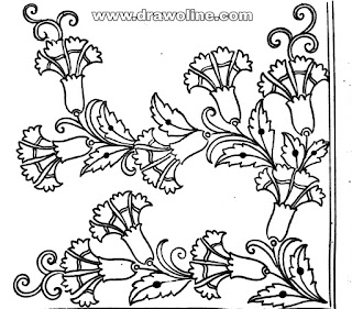 how to draw flower embroidery designs images, tracing-paper design for Embroidery saree,