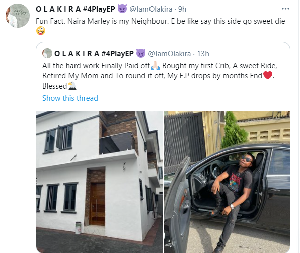 Singer Olakira buys his first house and a new car(Photos)