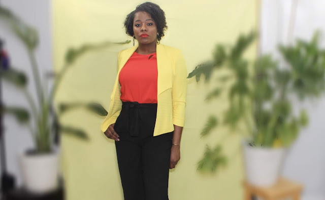 yellow blazer workplace fashion #ootd