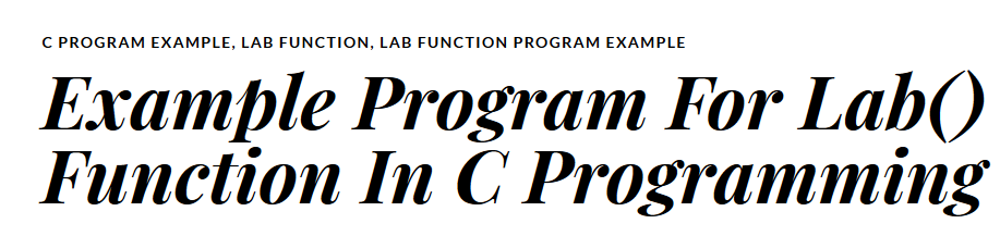 Example Program For  Lab() Function In C Programming