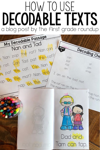Pinterest image of decodable books and passages with highlighted sight words