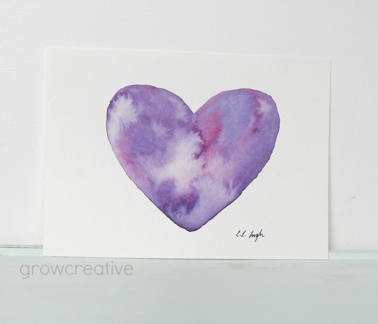 Purple Heart Watercolor Painting