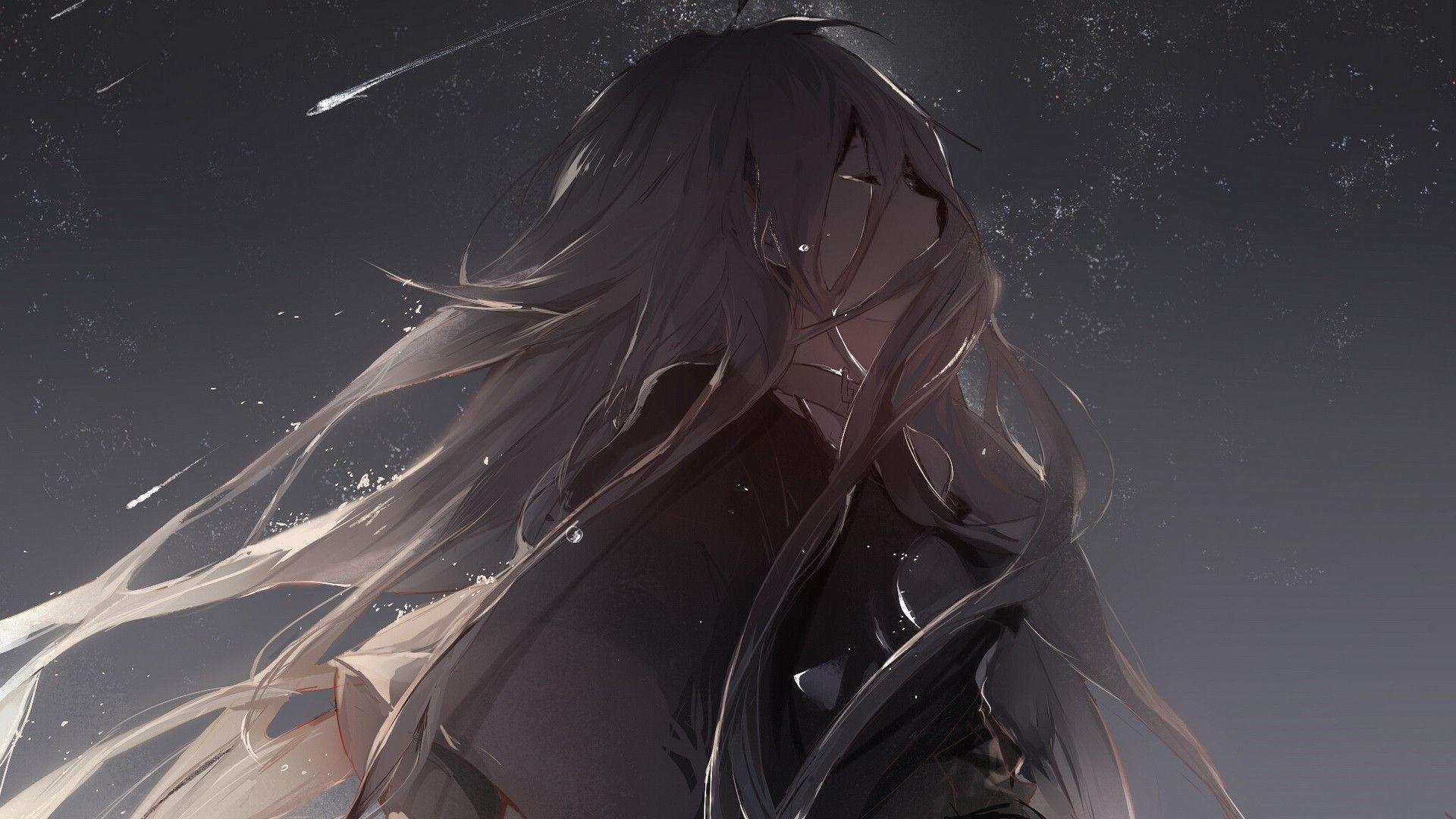 sad anime girl crying