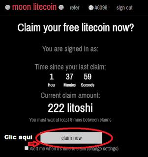 Hacer clic en Claim now coinpot