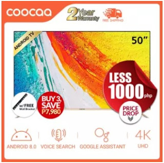 Affordable and Cheap COOCAA 50 inch 4K Smart LED TV with Built-in Netflix & Youtube 3840*2160 Television Wifi/LAN Ultra HD Mirror Cast (Model 50S5G)