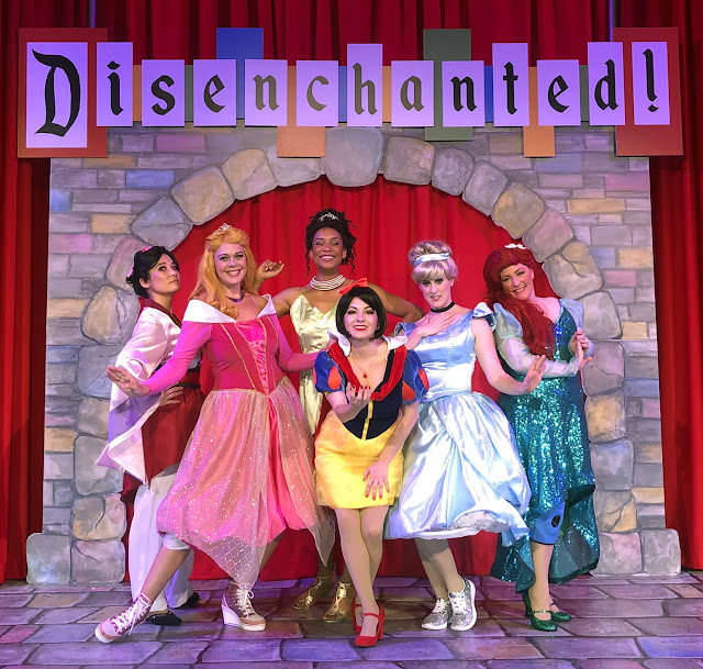 The Princesses featured on Disenchanted at 3Below Theaters & Lounge  Pictured left to right: Mulan (played by Eimi Taormina), Sleeping Beauty (played by Natasha Drena), Tiana (played by Marissa Rudd), Snow White (played by Colette Froehlich), Cinderella (played by Theresa Swain), Ariel (played by Shannon Guggenheim)  Courtesy image by 3Below Theaters & Lounge
