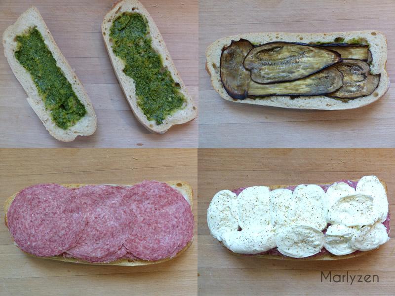 Confectionnez le sandwich en empilant les diverses garnitures.