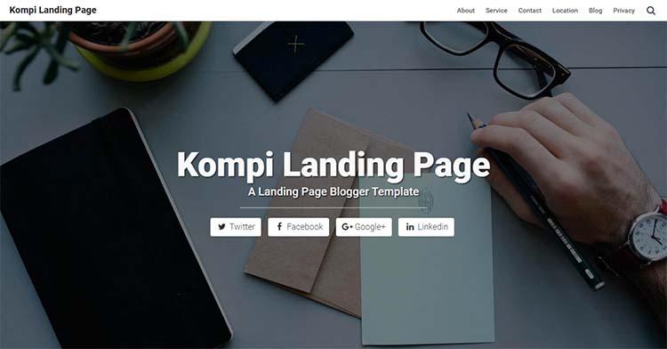 Free Blogger Template - Kompi Landing Page