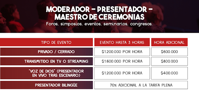 Tarifas de Locución en Foros, Simposios, Seminarios y Congresos - Colombia 2021