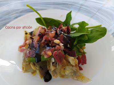 FA 2020 Ensalada de alcachofas confitadas con brotes, jamón ibérico y vinagreta de mostaza Dijón