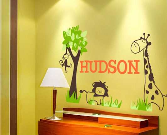 Wall Sticker Outlet: Jungle Themed Personalized Wall Decals