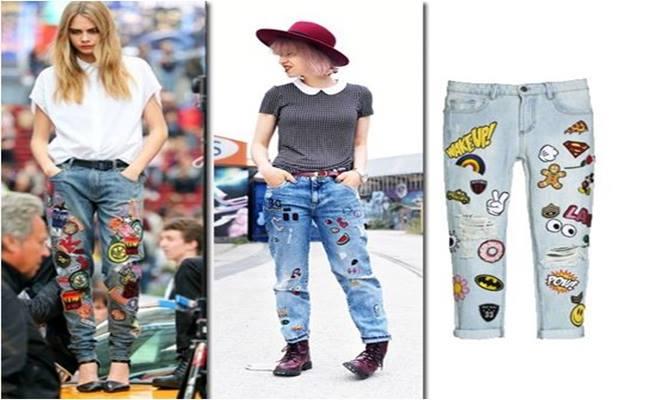 PATCHES em Calças Jeans