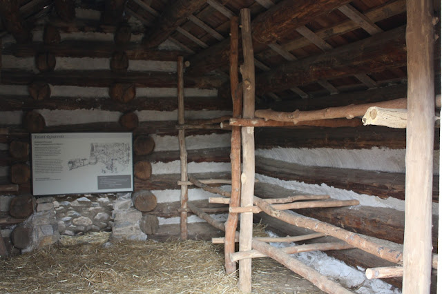 Inside one of the log huts at Valley Forge