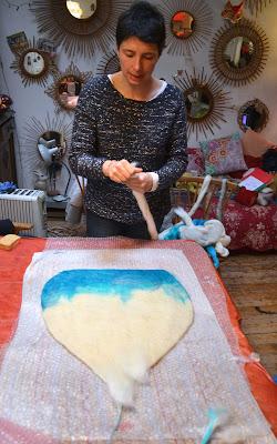 stage laine feutrée maison de chat chez Cathy Vagnon