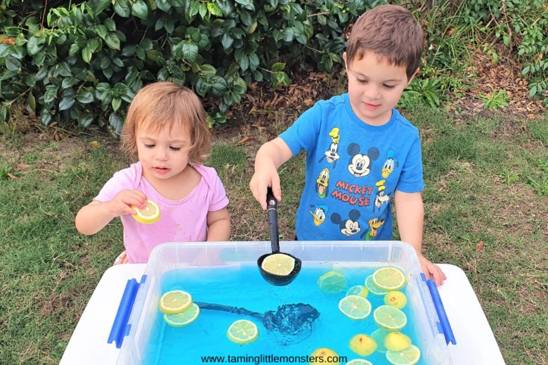 lemon summer water play for toddlers
