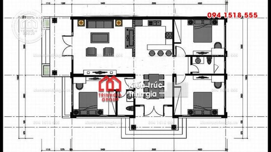 Mẫu nhà cấp 4 nông thôn có 3 phòng ngủ đẹp diện tích 120m2 - Mã số BT1017 - Ảnh 2