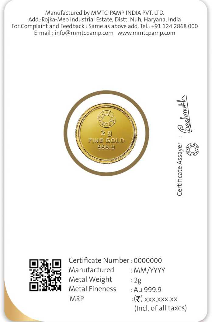 MMTC-PAMP India Pvt Ltd Lotus series 24 (9999) K 2 g Gold Coin CERTIFICATE