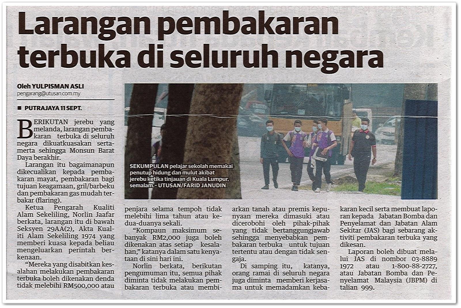 Larangan pembakaran terbuka di seluruh negara - Keratan akhbar Utusan Malaysia 12 September 2019