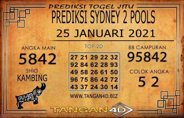PREDIKSI TOGEL SYDNEY2 TANGAN4D 25 JANUARI 2021