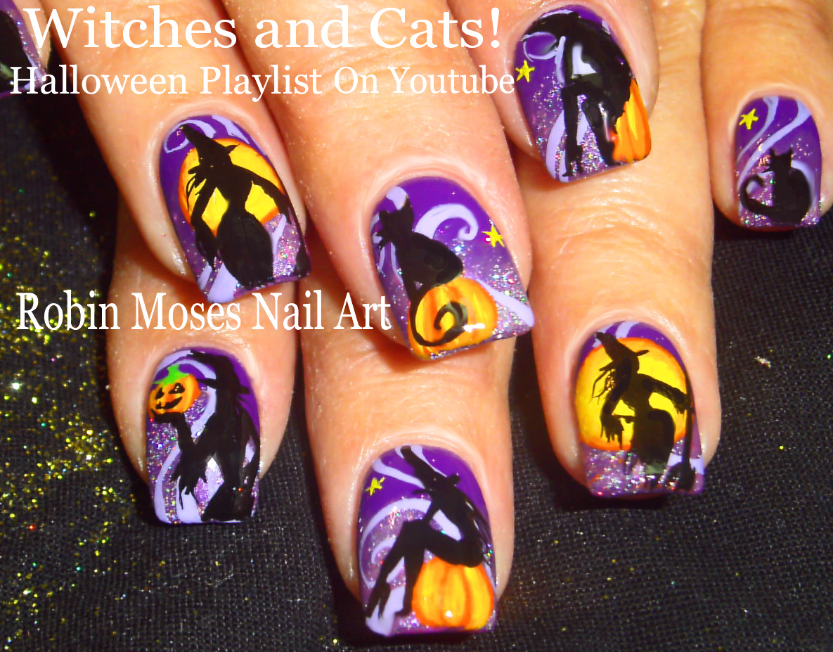 Nail Art by Robin Moses: How To Paint a Witches Face on Nails ...
