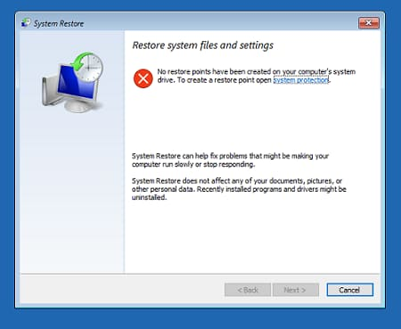 Restore window to select restore point