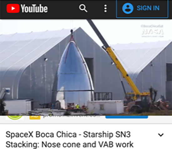 Nose cone added to other sections of Starship SN3 (Source: @BocaChicaGal)