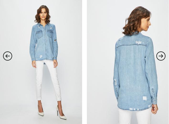Only - Camasa albastra de dama din jeans cu rupturi