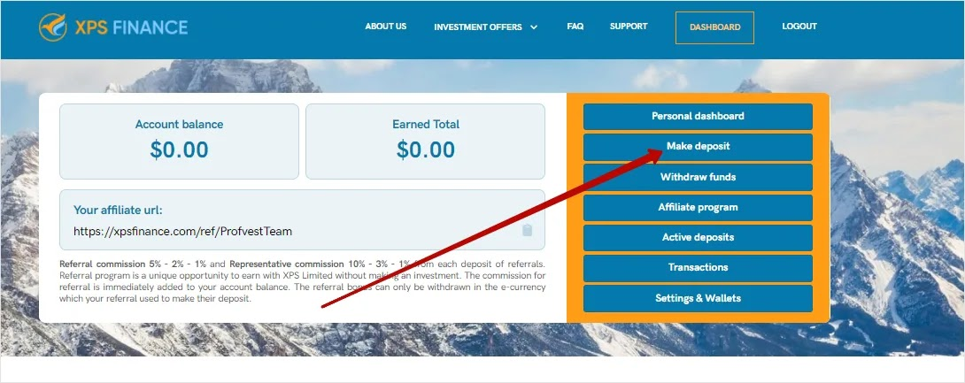 Пополнение баланса в XPS Finance