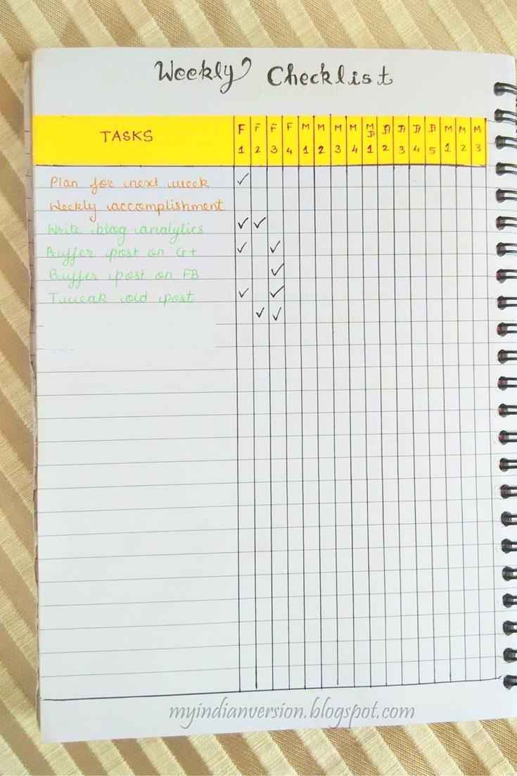 my indian version bullet journal weekly monthly task tracker. Black Bedroom Furniture Sets. Home Design Ideas