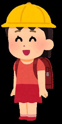ランドセルを背負った子供のイラスト(女の子・帽子あり)