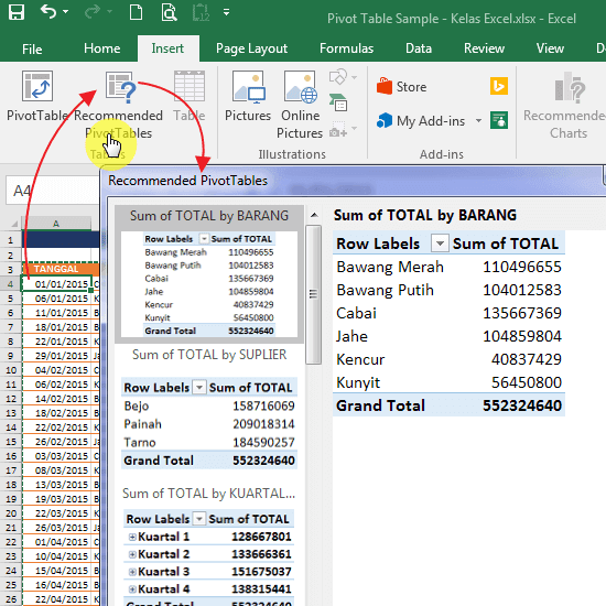 Recommended PivotTables Excel