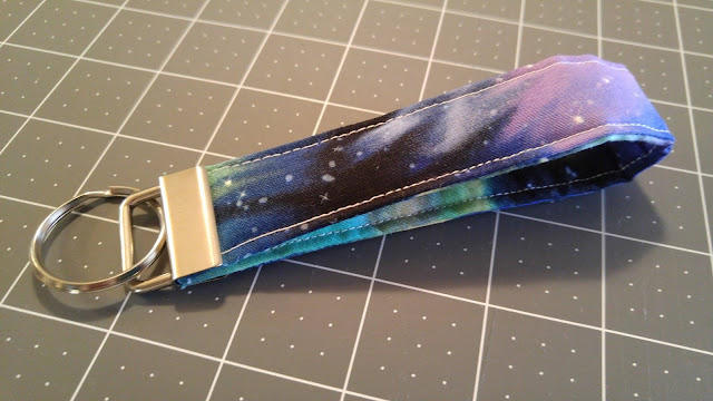 Quilted galaxy fabric keychain
