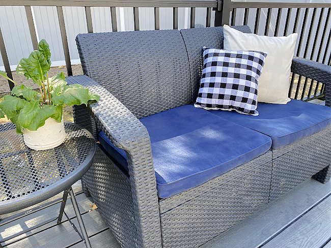 Amazon outdoor furniture with painted cushions and pillows