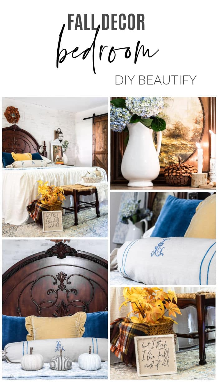 fall bedroom with blue and yellow pillows, copper magnolia wreath, fall leaves, bench and basket of pumpkins