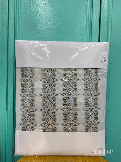 Pelekat hotfix sticker rhinestone DMC aplikasi tudung bawal fabrik pakaian geomterik islamik