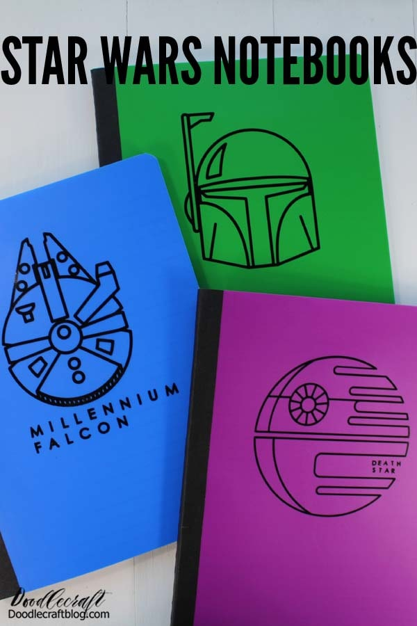 Learn how to make custom Star Wars Notebooks using the Cricut Maker, vinyl and just a few minutes. Makes a great gift for fellow Star Wars fan!