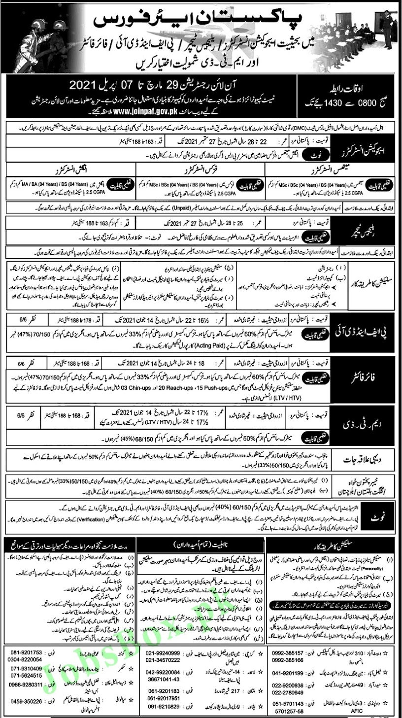Latest Jobs in Pakistan Air Force PAF 2021-Apply Online