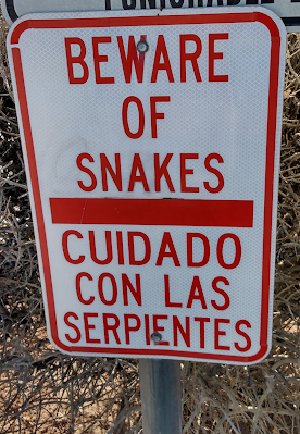 beware of snakes sign in the desert