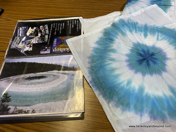 tie-died cloth based on photo in book at Geocolor:  Hachimantai Geothermal Dyeing in Hachimantai city, Japan