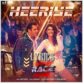 Heeriye Lyrics Hindi movie Race 3