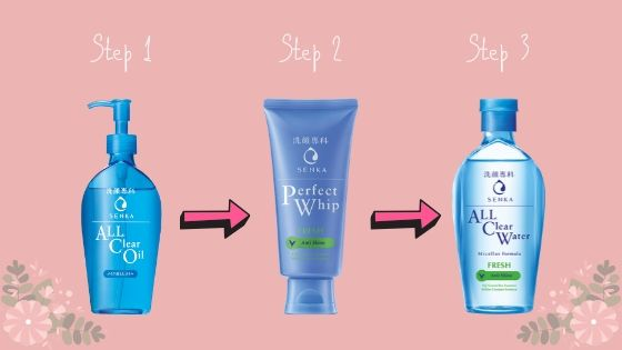 triple cleansing dengan produk senka perfect white