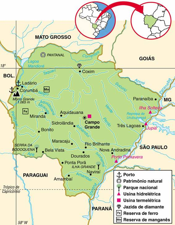 Mato Grosso do Sul | Mapas Geográficos do Mato Grosso do Sul