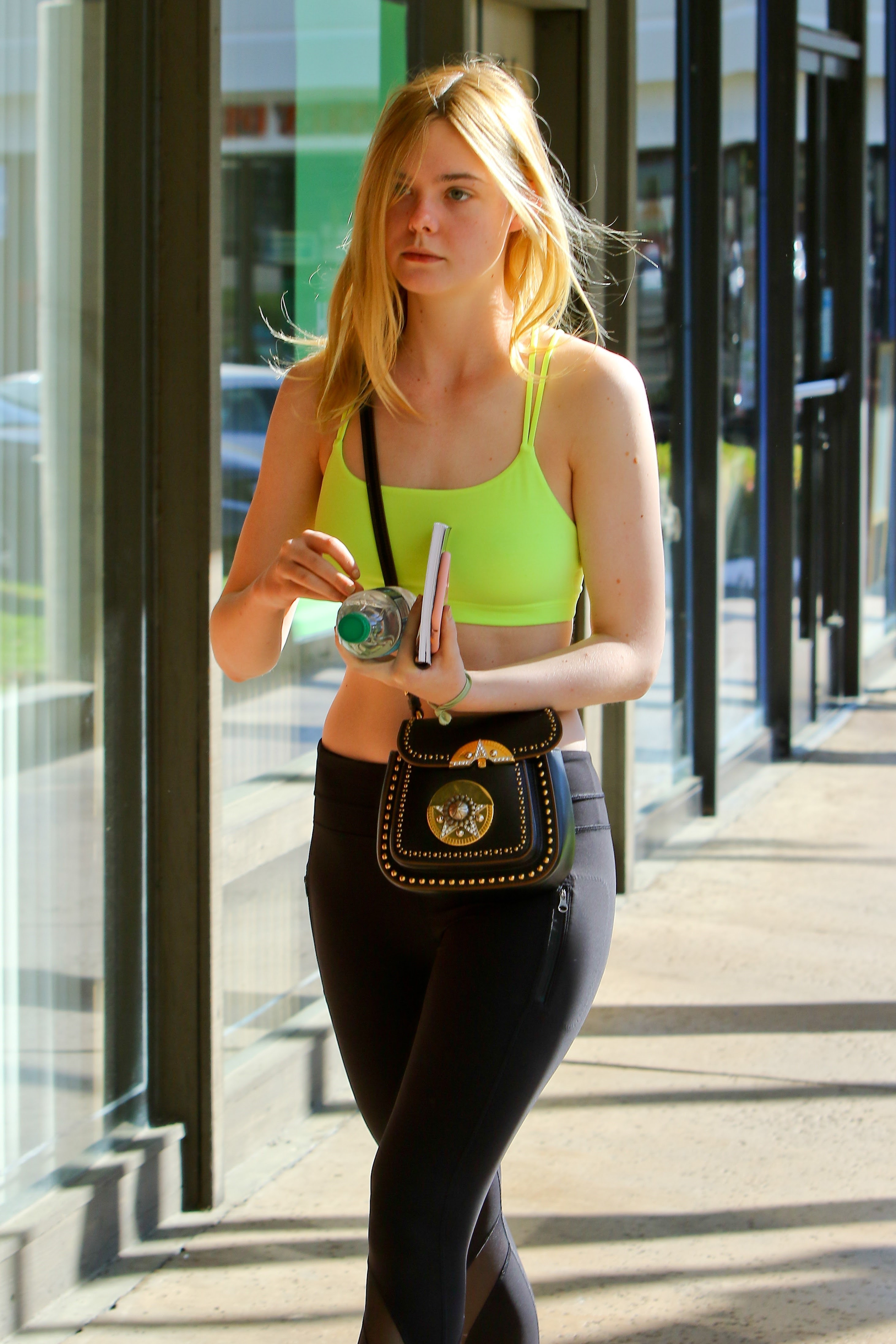 Elle Fanning going to gym for training