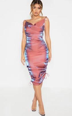 Pink Metallic Shimmer Cowl Neck Tie Strap Midi Party dress