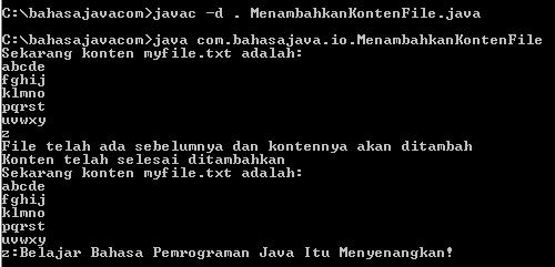 Menambahkan Konten File Dengan FileWriter