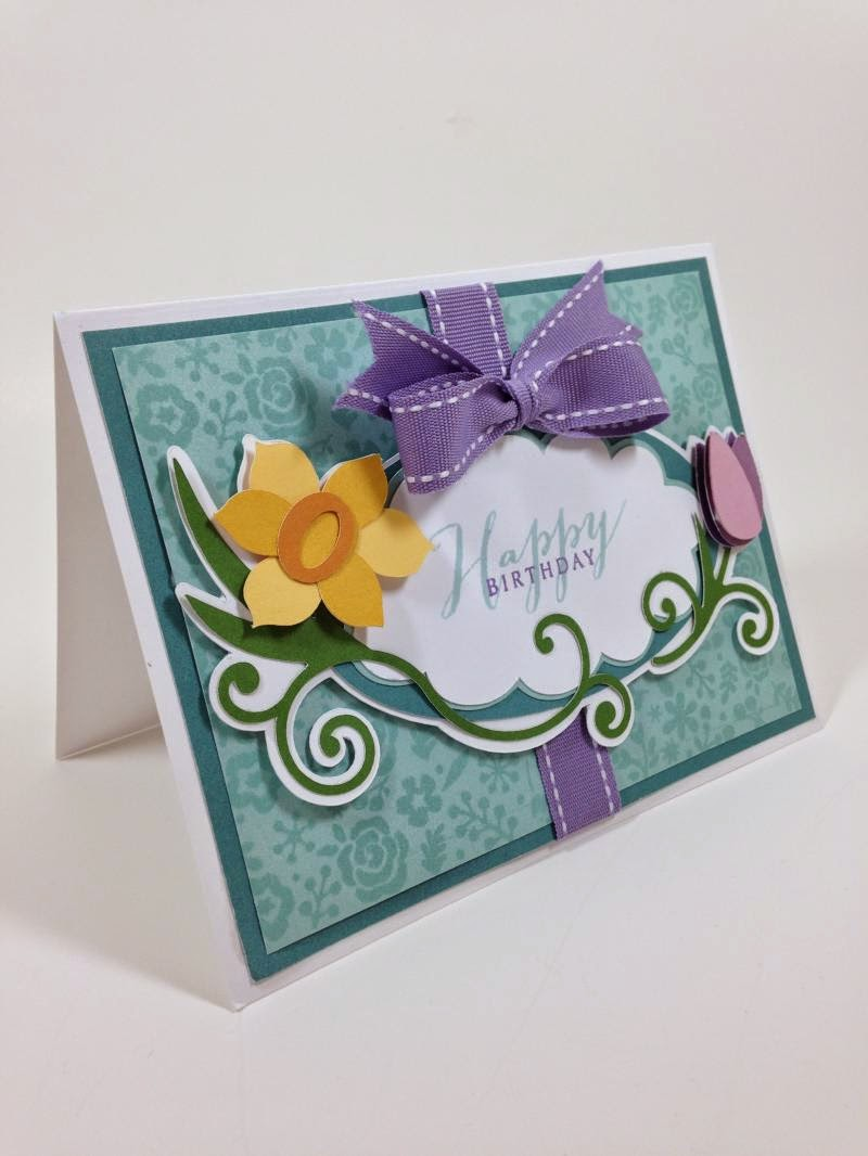 Cricut Floral Frame Birthday Card closeup sideview