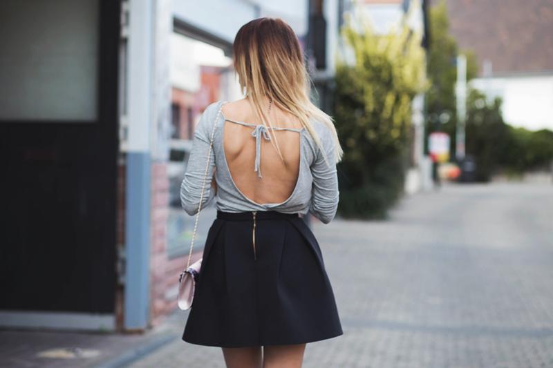 bluzka z gołymi plecami, bluzka, szara bluzka, style, fashion